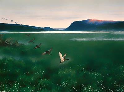 Geese Painting - Twelve Wild Ducks by Mountain Dreams