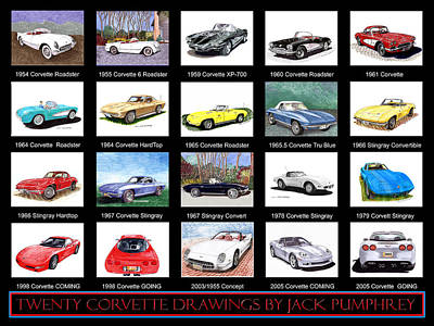 Painting - Twenty Corvettes by Jack Pumphrey