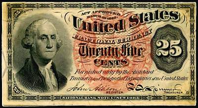 Debt Painting - Twenty Five Cent 4th Issue U.s. Fractional Currency Fr 1302 by Lanjee Chee
