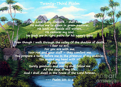 Twenty-third Psalm On Twin Ponds Art Print