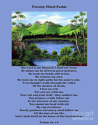 Twenty-third Psalm With Twin Ponds Blue Art Print by Barbara Griffin