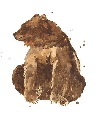 Brown Bear Painting - Twiddletoes by Alison Fennell