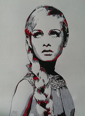 Twiggy Drawing - Twiggy by Kevin Wood