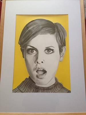 Twiggy Drawing - Twiggy by Martin Burton