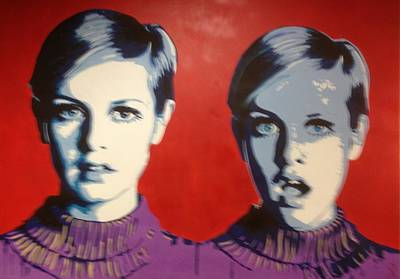 Twiggy Pop Art Painting - Twiggy Two Face by Grant  Swinney