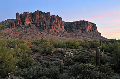 Twighlight At The Superstition Mountains Art Print