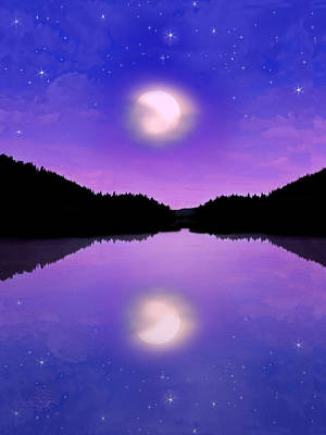 Twilight And The Moon Art Print