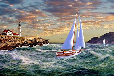Portland Head Lighthouse Painting - Twilight At Portland by Ron Chambers