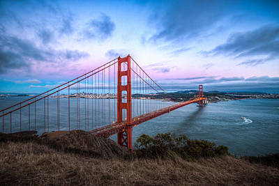 Photograph - Twilight At The Golden Gate by Mike Lee
