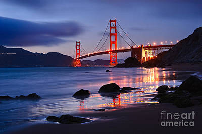 Twilight - Beautiful Sunset View Of The Golden Gate Bridge From Marshalls Beach. Art Print by Jamie Pham