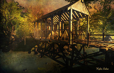 Old Country Roads Digital Art - Twilight Bridge by Kylie Sabra