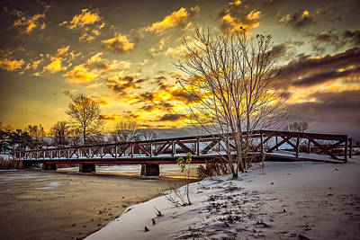 Western Snowfall Photograph - Twilight Bridge Over An Icy Pond by Chris Bordeleau