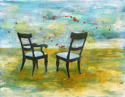 Painting - Twilight - Chairs by Deborah Allison