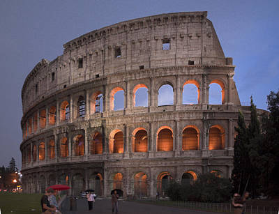 Photograph - Twilight Colosseum Rome Italy by Alex Saunders