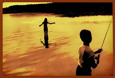 Art Print featuring the photograph Twilight Fishing by John Hansen