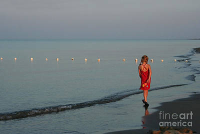 Photograph - Twilight Girl In Red Dress by Barbara McMahon