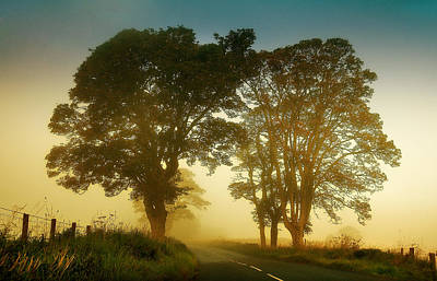 Twilight Guardians. Misty Roads Of Scotland Art Print