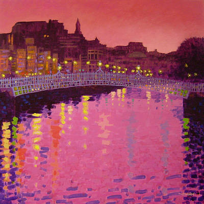 Vibrant Painting - Twilight - Ha' Penny Bridge Dublin by John  Nolan