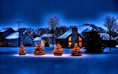 Winter Night Mixed Media - Twilight Holiday by Chas Burnam
