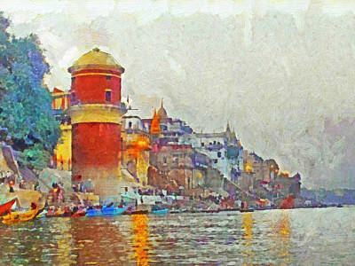 Digital Art - Twilight In Varanasi by Digital Photographic Arts