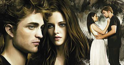 Movie Art Painting - Twilight  Kristen Stewart And Robert Pattinson Artwork 1 by Sheraz A