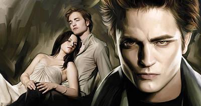 Movie Art Painting - Twilight  Kristen Stewart And Robert Pattinson Artwork 2 by Sheraz A