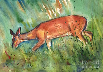 Deer Painting - Twilight by Maria's Watercolor