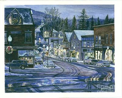 Maine Mountains Drawing - Twilight by Mark Mahoney