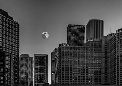 Photograph - Chicago Twilight Moon by Erwin Spinner
