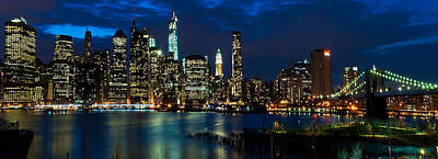 Twilight Nyc Panorama Art Print by Mitchell R Grosky