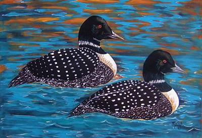 Painting - Twilight On Golden Pond North American Loons by Cindy Micklos