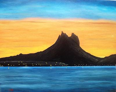 Sonora Painting - Twilight On San Carlos Sonora by Jorge Cristopulos
