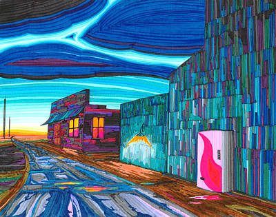 Grain Elevator Wall Art - Drawing - Twilight On The Central Plains by Scott Kirby