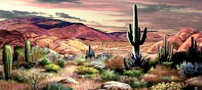 Park Scene Painting - Twilight On The Desert  2 by Ron Chambers
