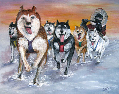 Iditarod Painting - Twilight On The Trail by Karen Copley