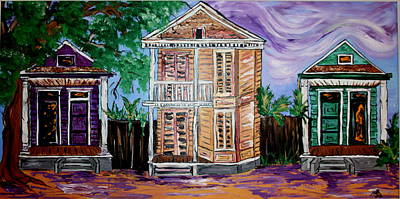 Creole Cottage Wall Art - Painting - Twilight On Ursulines by Annie Russell