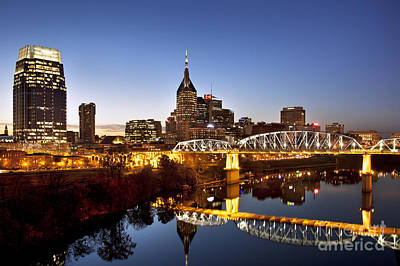 Downtown Nashville Photograph - Twilight Over Nashville Tennessee by Brian Jannsen