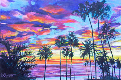 Painting - Twilight Palms by Bonnie Lambert