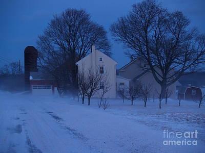 Twilight Snow On Bauman Road Art Print by Anna Lisa Yoder