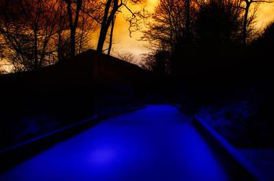 Photograph - Twilight Snowy Path by Steve Hurt