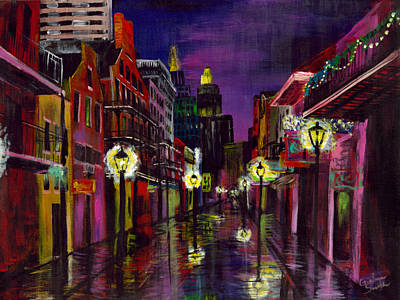 Mardi Gras Painting - Twilight Street by Gretchen  Smith