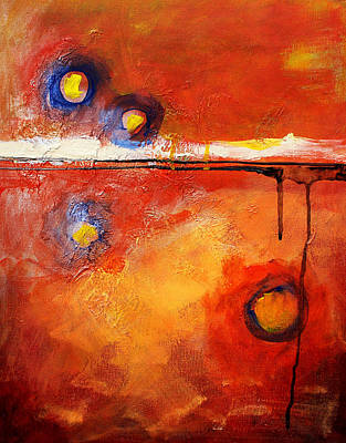Red Abstract Painting - Twilight Time by Nancy Merkle