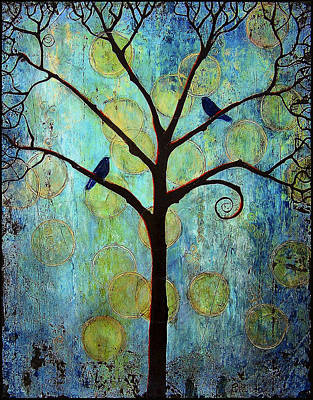 Lovebird Painting - Twilight Tree Of Life by Blenda Studio