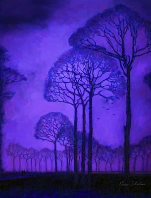 Purple Painting - Twilight Walk In The Park by Enzie Shahmiri
