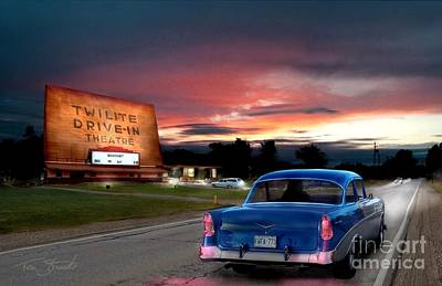 Drive-in Digital Art - Twilite Drive In  by Tom Straub