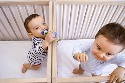 Twin Baby Boys In Their Cots Art Print