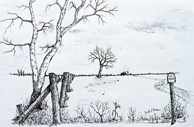 Twin Birch Fence Line Art Print