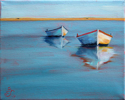 Twin Boats II Art Print