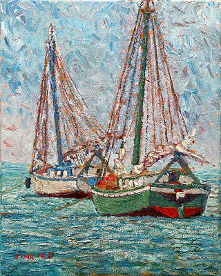 Painting - Twin Boats by Ritchie Eyma