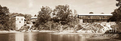 Photograph - Twin Bridges North Hartland Vermont Sepia by Edward Fielding
